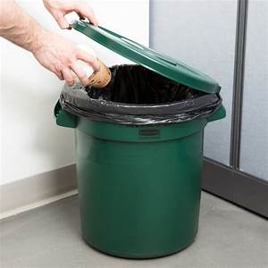 Rubbermaid, Brute, 10, Gallon, Green, Trash, Can, And, Lid