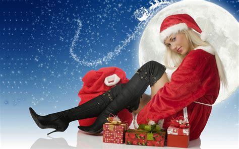 happy  year santa claus girl hd wallpaper