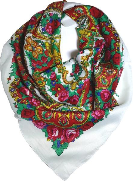 traditional paisley folk head scarf white