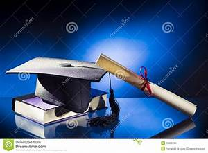 Graduation Hat, Diploma And Book Stock Photo - Image of ...