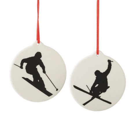 ski silhouette christmas ornaments set of 2