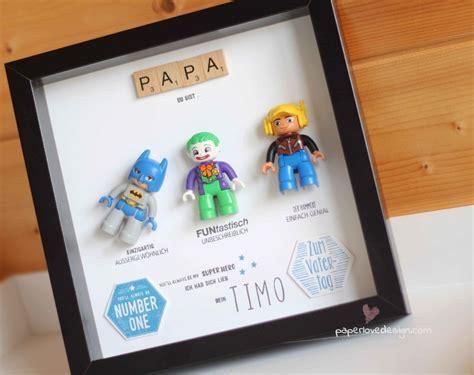 papa tags geschenke diy geschenk zum vatertag lego rahmen f 220 r superheld papa paperlovedesign