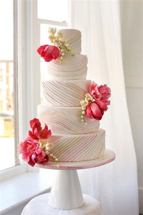 wedding cake cakes pink gorgeous whisk flowers flower company modwedding inspiration blissfully pearl featured prettiest fondant bright km without