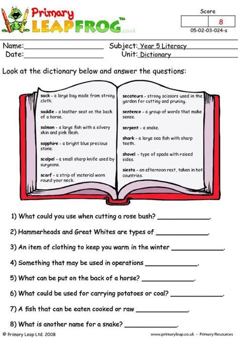 primaryleapcouk dictionary work  worksheet