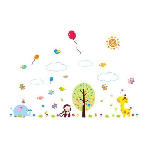 sticker girafe papillons et oiseaux avec des ballons stickers b 233 b 233 s fille ambiance sticker