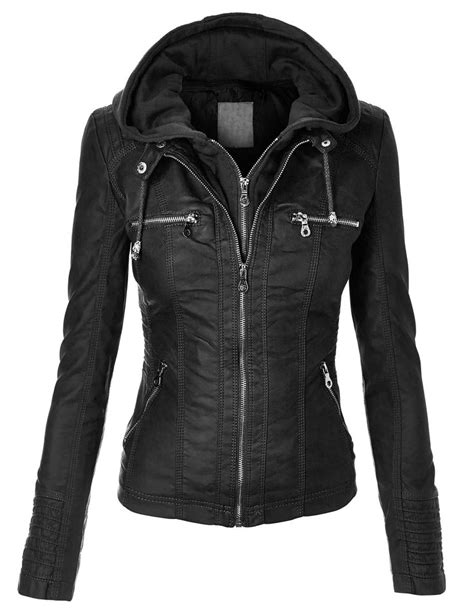 moto biker jacket mbj womens faux leather zip up moto biker jacket with