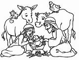 Nativity Coloring Pages Printable Animals Scene sketch template