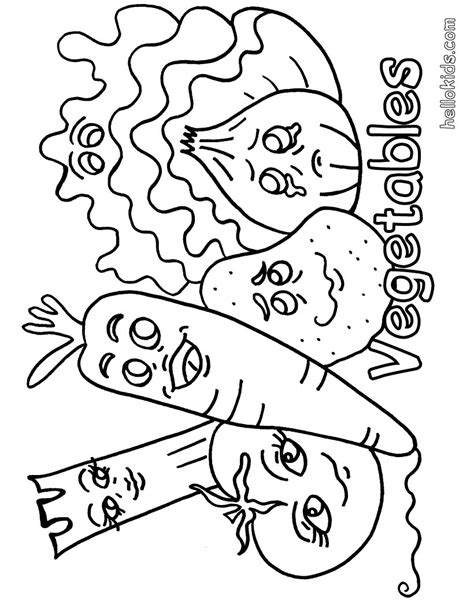 Coloring Vegetable by Vegetable Coloring Pages Hellokids