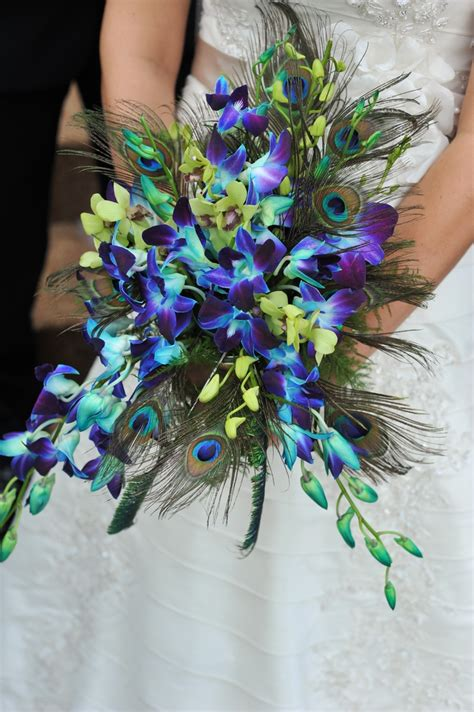Wedding Bouquet Bright Blue Orchids Floral Mix With