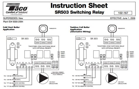 taco sr503 4 three zone switching relay ecobee support