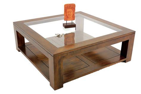 canapé droit design table basse carrée bois massif et verre l110 cm