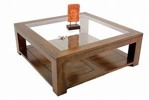 Table Basse Carrée Verre : table salon verre et bois table de salon contemporaine design maisonjoffrois ~ Teatrodelosmanantiales.com Idées de Décoration