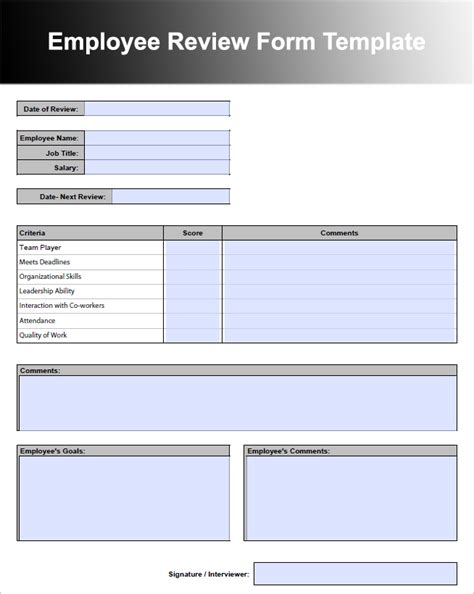 Employee Performance Reviews Templates 26 Employee Performance Review Templates Free Word Excel