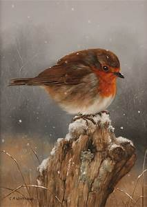 Carl Whitfield, Original oil painting on panel, Robin ...