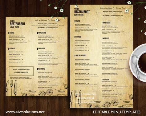 restaurant menu id brochure templates creative market