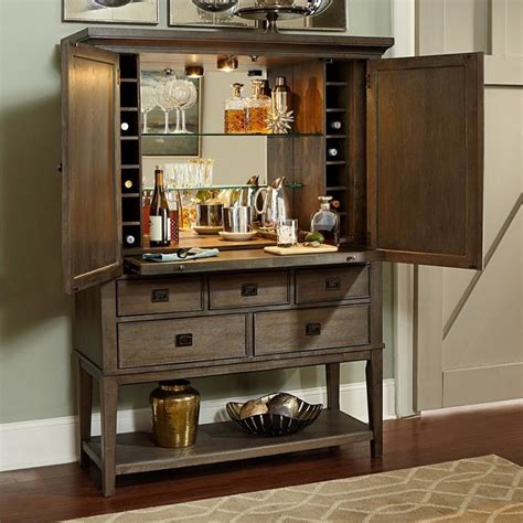 Home Bar Cabinet by American Drew Park Studio 2 Door Mirrored Back Bar Cabinet