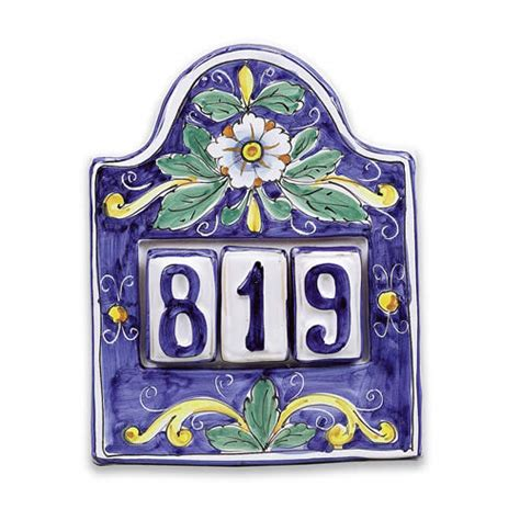 house number plaque for three italian pottery outlet