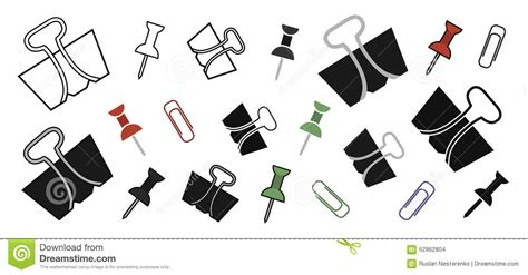 Stationery Office Paper Pins And Clips Set Stock Vector