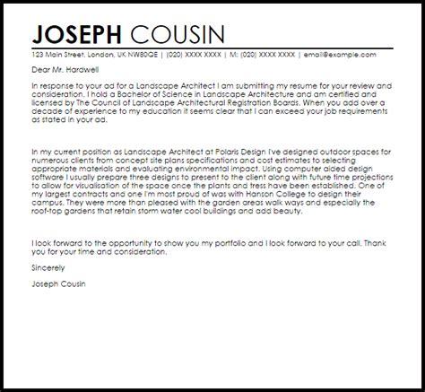 Landscaping Resume Cover Letter by Landscape Architecture Cover Letter Sle Letter