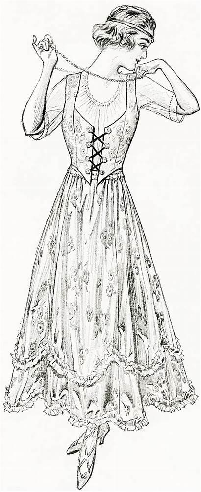 Digital Summer Coloring Victorian Dresses Olddesignshop 1915