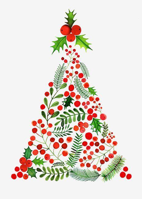 margaret berg art berries mistletoe christmas tree a