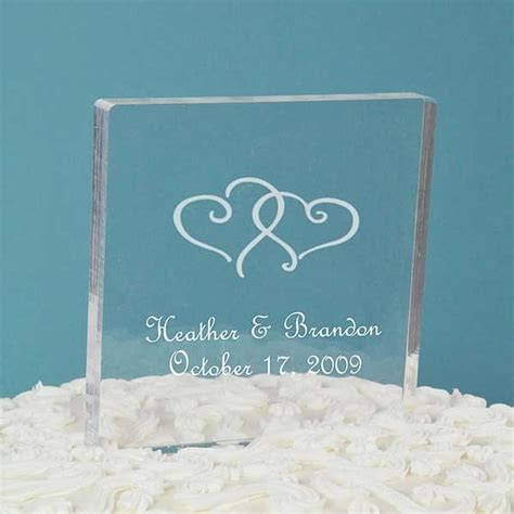 personalized acrylic square cake topper wedding collectibles