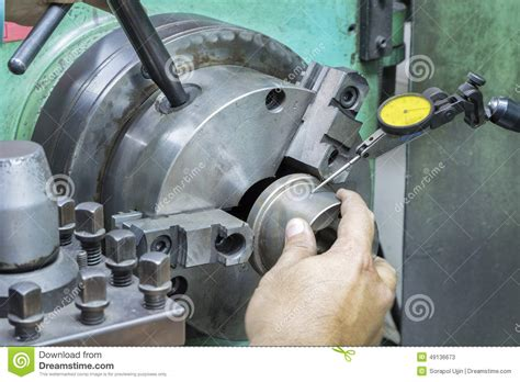 operator setup turning part  manual lathe machine stock