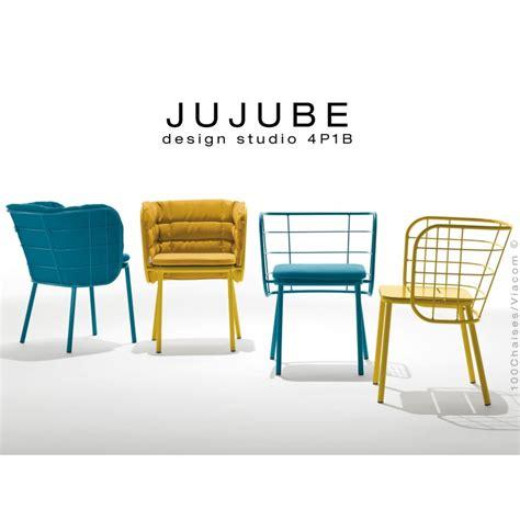 coussin de chaise avec dossier fauteuil design jujube structure acier peint avec coussin