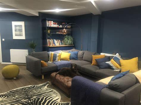 farrow  ball stiffkey blue living room  mustard