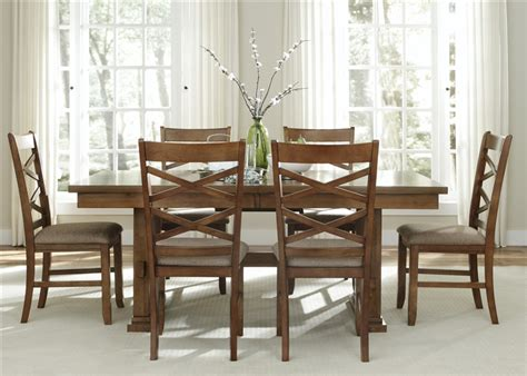 trestle table and chairs bistro trestle table 5 piece dining set in honey finish by