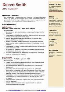 Bdc Manager Resume Samples