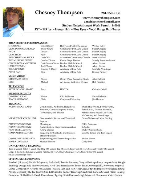 Actor Resumes Exles by Update 4530 Actor Resume Builder 35 Documents