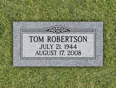 simple flower granite cemetery grave marker by