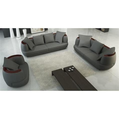 ensemble canapé 3 2 1 ensemble canapé 3 2 1 places en cuir gris ryga achat