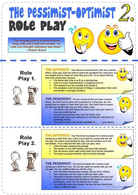 pessimist optimist role play  worksheet  esl
