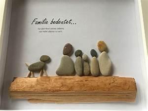 DIY Kieselsteinbild Familie mit Spruch bee in flipflops