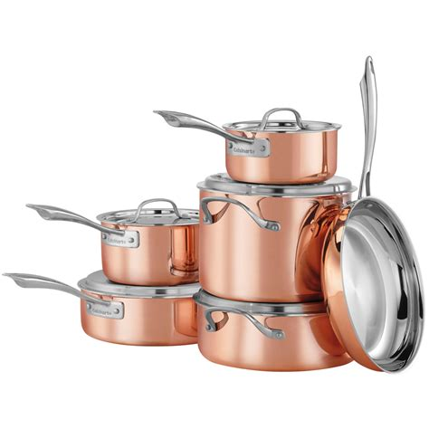 cuisinart copper tri ply stainless steel  piece cookware set pc knife bundle  ebay