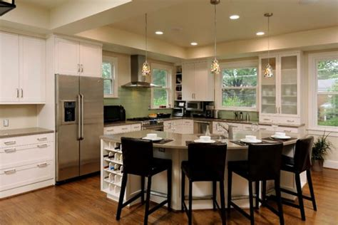 kitchen with islands 30 kitchen islands with tables a simple but clever combo