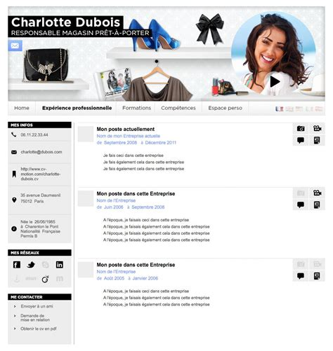 Mode De Cv Gratuit by Exemple Cv Pret A Porter Beaute