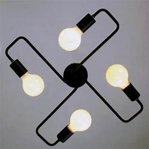 Black, Vintage, Barn, Metal, Semi, Flush, Mount, Ceiling, Lighting, With, 4, Ligh, U2013, Unitarylighting