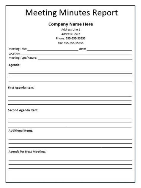 meeting minutes report template meeting agenda template