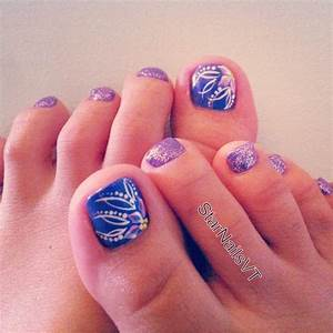 Sparkly purple toe nails and pretty flowers | Cool Nails ...
