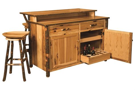 kitchen island and bar amish hickory home wine bar kitchen island set w stools