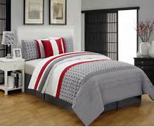 Red Black Grey White Bedroom by Contemporary Bedroom With Geometric Polka Dot Striped Grey Red Comforter Set