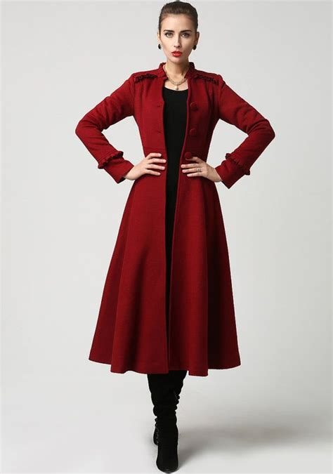 long winter coat red coat maxi coat wool coat dress