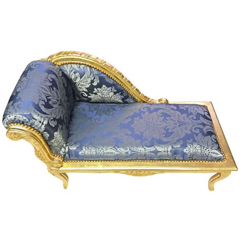 chaise style baroque louis xv chaise longue blue quot gobelins quot fabric and gold wood