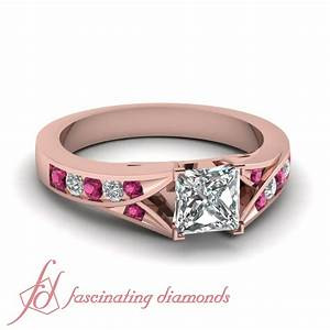 3 4 ct princess cut h color diamond pink sapphire for Princess cut pink diamond wedding rings