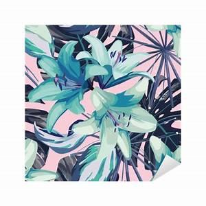 Feuille De Lys : sticker lys bleu et les feuilles de fond sans soudure pixers nous vivons pour changer ~ Nature-et-papiers.com Idées de Décoration
