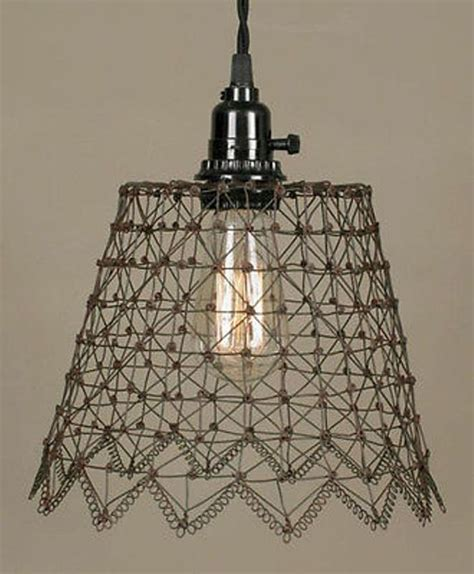 plug in french chicken wire swag l pendant light