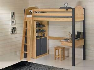 Lit Avec Bureau : lit mezzanine avec bureau dcopin secret de chambre ~ Teatrodelosmanantiales.com Idées de Décoration